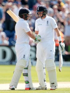 Ian Bell of England acknowledges his half century.