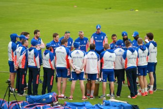 England team huddle prior to training at the SSE SWALEC Stadium.
