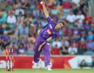 Cameron Boyce bowls for the Hurricanes in the Big Bash