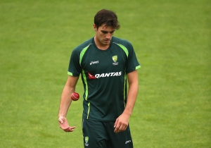Pat Cummins of Australia prepares to bowl during a nets session
