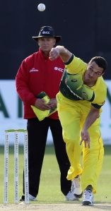 Nathan Coulter-Nie bowls against Ireland